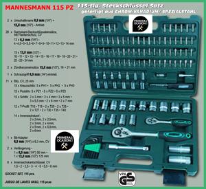 Imagen de Maletin herramientas MANNESMANN 115 piezas
