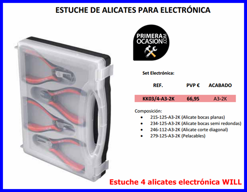 Imagen de Estuche 4 Alicates Profesionales electrónica WILL
