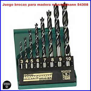 Imagen de Juego 8 brocas para madera MANNESMANN 54308