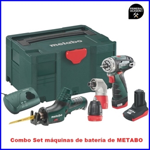 Imagen de Combo Set METABO maquinas de bateria de 10.8 voltios BS Q+ASE