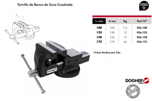 Imagen de Tornillo de banco guia cuadrada DOGHER TOOLS 125 mm