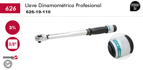 "Imagen de Llave dinamometrica profesional DOGHER TOOLS 3/8"" 19-110 Nm"
