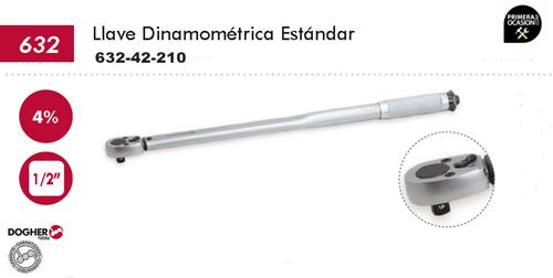 """Imagen de Llave dinamometrica estandar DOGHER TOOLS 1/2"""" 42-210 Nm"""