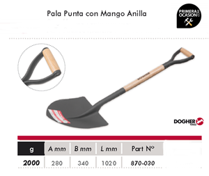 Imagen de Pala punta con mango anilla DOGHER TOOLS 870-030