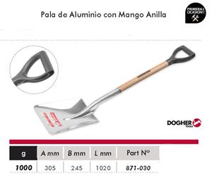 Imagen de Pala de aluminio pequeña con mango anilla DOGHER TOOLS 871-030