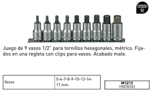 "Imagen de Juego 9 vasos 1/2"" TENGTOOLS M1212"