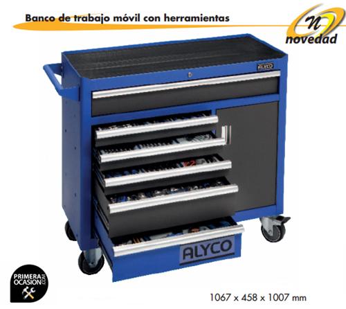Imagen de Banco movil de trabajo+253 herramientas ALYCO 192679