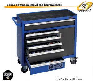 Imagen de Banco movil de trabajo+141 herramientas ALYCO 192680