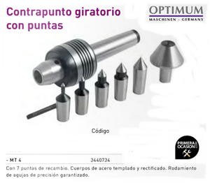Imagen de Contrapunto giratorio con puntas OPTIMUM MT 4