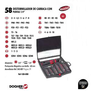 """Imagen de Juego de destornillador de carraca con puntas 1/4"""" 58 piezas DOGHER TOOLS 438-008"""