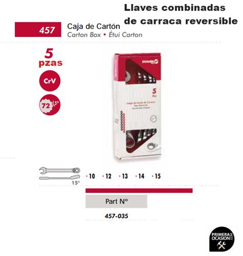 Imagen de Juego 5 llaves combinadas carraca reversibles DOGHER TOOLS 457-035