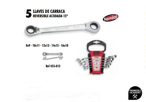 Imagen de Juego 5 llaves de carraca reversible acodada 15º DOGHER TOOLS 455-015