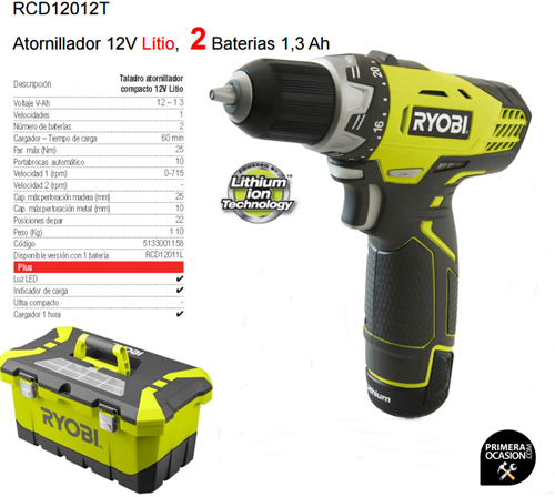 Imagen de Taladro atornillador 12V RYOBI RCD12012T