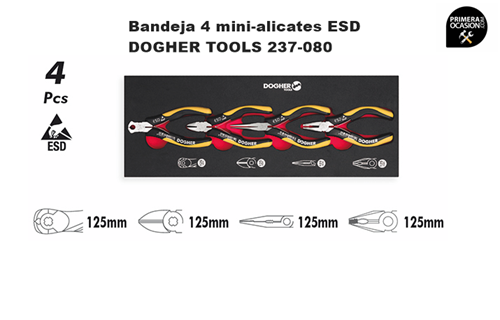Imagen de Bandeja 4 mini-alicates ESD DOGHER TOOLS 237-080
