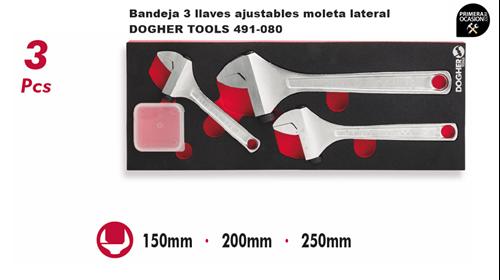 Imagen de Bandeja 3 llaves ajustables moleta lateral DOGHER TOOLS 491-080