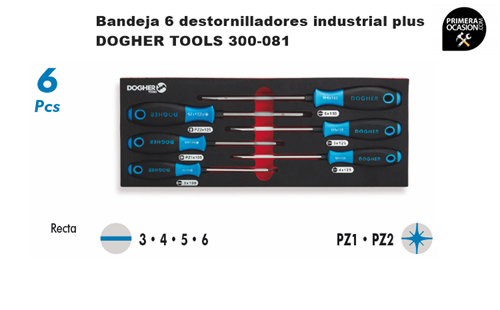 Imagen de Bandeja 6 destornilladores industrial plus DOGHER TOOLS 300-081