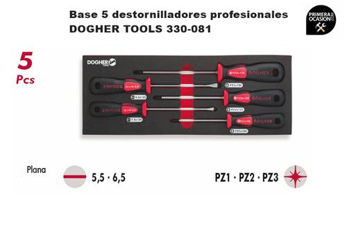 Imagen de Bandeja 5 destornilladores profesionales DOGHER TOOLS 330-081