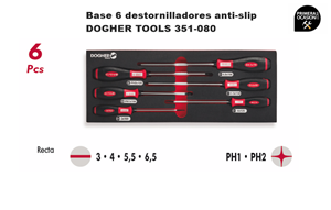 Imagen de Bandeja 6 destornilladores anti-slip DOGHER TOOLS 351-080