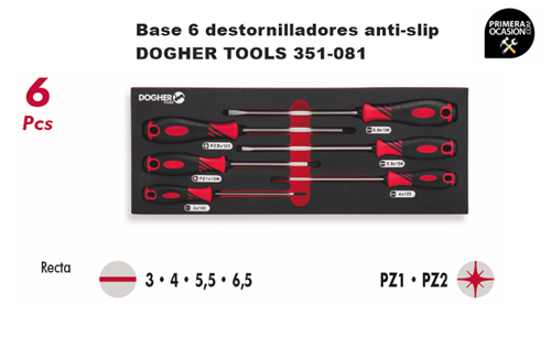 Imagen de Bandeja 6 destornilladores anti-slip DOGHER TOOLS 351-081