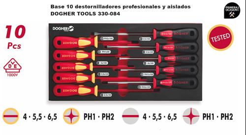 Imagen de Bandeja 10 destornilladores profesionales y aislados 1000V DOGHER TOOLS 330-084
