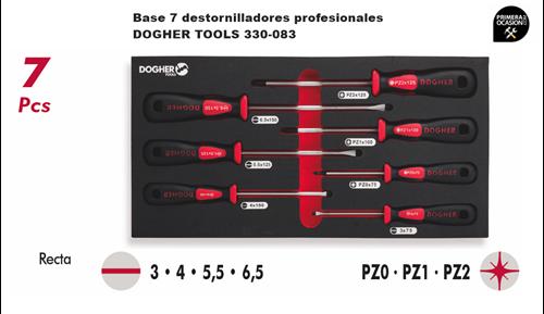 Imagen de Bandeja 7 destornilladores profesionales DOGHER TOOLS 330-083
