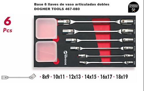 Imagen de Bandeja 6 llaves de vaso articuladas dobles DOGHER TOOLS 467-080