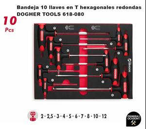 Imagen de Bandeja 10 llaves en T hexagonales redondas DOGHER TOOLS 618-080