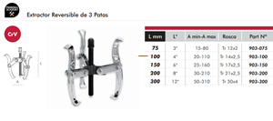 Imagen de Extractor reversible 3 patas 100 mm DOGHER TOOLS