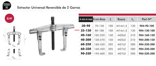 Imagen de Extractor reversible universal 2 garras DOGHER TOOLS 904-130-100