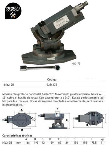 Imagen de Mordaza triaxial OPTIMUM MV3-75