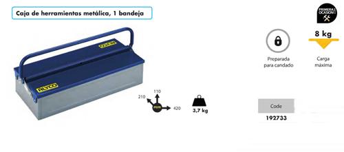 Imagen de Caja de herramientas metalica 1 bandeja ALYCO 192733