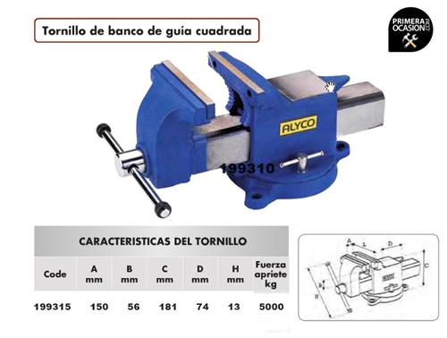 Imagen de Tornillo de banco de guia cuadrada 150 mm ALYCO 199315