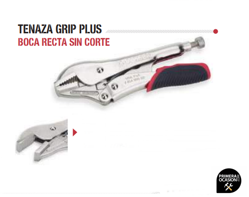 Imagen de Tenaza grip plus boca recta sin corte 250 mm DOGHER TOOLS 277P-250