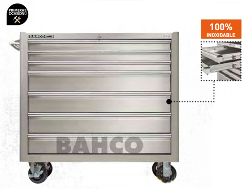 "Imagen de Carro herramientas 7 cajones acero inoxidable 40"" BAHCO 1475KXL7SS"
