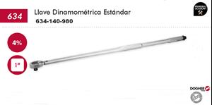 """Imagen de Llave dinamometrica estandar DOGHER TOOLS 1"""" 140-980 Nm"""