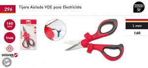Imagen de Tijera aislada VDE para electricista 160 mm DOGHER TOOLS 296-005
