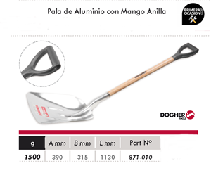 Imagen de Pala de aluminio grande con mango anilla DOGHER TOOLS 871-010