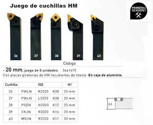 Imagen de Juego 5 cuchillas HM 20 mm OPTIMUM 3441670