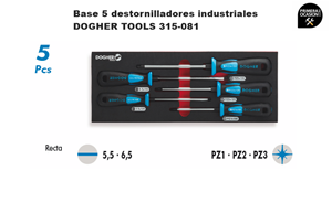 Imagen de Bandeja 5 destornilladores industriales DOGHER TOOLS 315-081