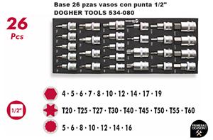 """Imagen de Bandeja 26 vasos con punta 1/2"""" DOGHER TOOLS 534-080"""