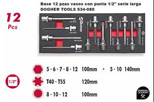 "Imagen de Bandeja 12 vasos con punta 1/2"" serie larga DOGHER TOOLS 538-080"