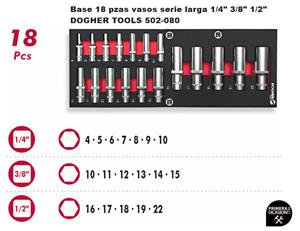 "Imagen de Bandeja 18 vasos serie larga 1/4"" 3/8"" 1/2"" DOGHER TOOLS 502-080"