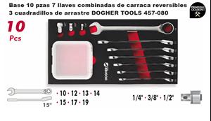 Imagen de Bandeja 7 llaves combinadas de carraca reversibles y 3 cuadradillos de arrastre DOGHER TOOLS 457-080
