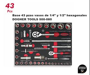 "Imagen de Bandeja 43 vasos de 1/4"" y 1/2"" hexagonales DOGHER TOOLS 500-080"