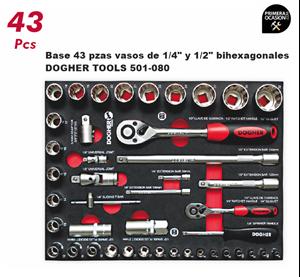 "Imagen de Bandeja 43  vasos de 1/4"" y 1/2"" bihexagonales DOGHER TOOLS 501-080"