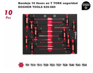 Imagen de Bandeja 10 llaves en T TORX seguridad DOGHER TOOLS 620-080