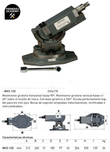 Imagen de Mordaza triaxial OPTIMUM MV3-125