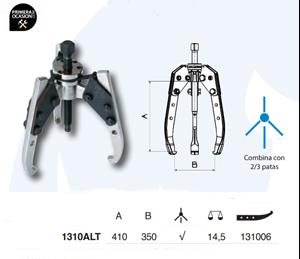 Imagen de Extractor autocentrante FORZA 1310ALT 410x350 mm