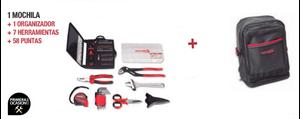 Imagen de Mochila + organizador + 7 herramientas + 58 puntas DOGHER TOOLS 076-510