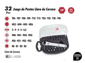 """Imagen de Juego 32 puntas llave de carraca 1/4"""" DOGHER TOOLS"""